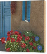 Flowers At Ranchos De Taos Wood Print