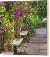 Flowers By A Bench  Wood Print