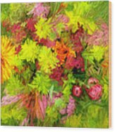 Flowers By The Brush Wood Print