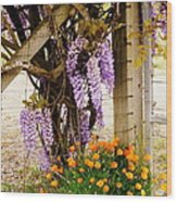 Flowers By The Gate Wood Print
