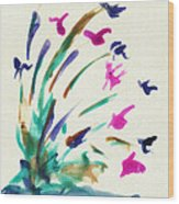 Flowers By The Pond Wood Print