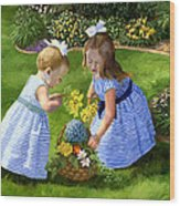 Flowers For Mama With Girls Garden Basket Bouquet Wood Print by Alice Leggett