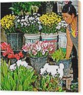 Flowers For Sale In Marketplace In Tachilek-burma Wood Print