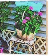 Flowers In A Basket Wood Print