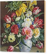 Flowers In A Blue And White Vase Wood Print