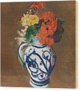 Flowers In A Blue Vase Wood Print by Odilon Redon
