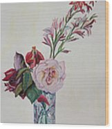 Flowers In A Crystal Vase Wood Print