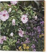 Flowers In A Garden Wood Print
