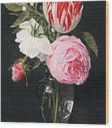 Flowers In A Glass Vase Wood Print by Daniel Seghers