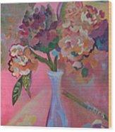 Flowers In A Lavender Vase Wood Print