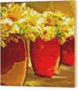 Flowers In A Row Wood Print