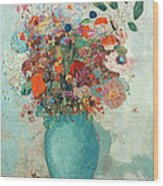 Flowers In A Turquoise Vase Wood Print
