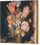 Flowers In A Vase Wood Print