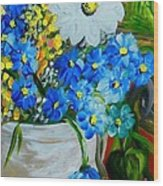 Flowers In A White Vase Wood Print