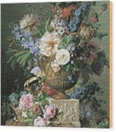 Flowers In An Alabaster Vase Wood Print