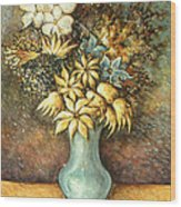 Flowers In Blue Vase - Still Life Oil Wood Print
