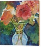 Flowers In Glass Vase Wood Print