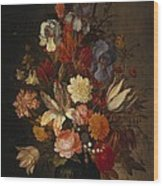 Flowers In Glass Vase With Shells C1625 Wood Print