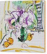 Flowers In Green Vase Wood Print