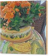 Flowers In Ornate Vase Wood Print