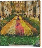 Flowers In Rockefeller Plaza Wood Print