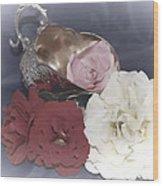 Flowers In Silver Wood Print