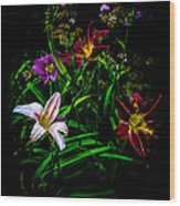 Flowers In The Garden Wood Print