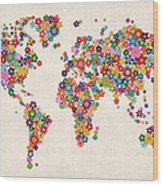 Flowers Map Of The World Map Wood Print
