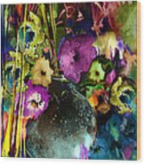 Flowers Night Party Wood Print