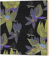Flowers On Black Wood Print