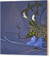 Flowers On Skis Wood Print