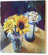 Flowers On Table Wood Print