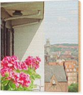 Flowers On The Balcony Wood Print