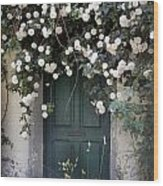 Flowers On The Door Wood Print