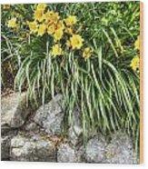 Flowers On The Edge Wood Print