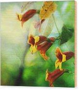 Flowers On The Vine Wood Print