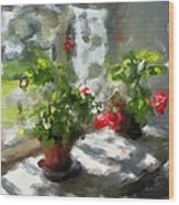 Flowers On The Window Wood Print by Yury Malkov