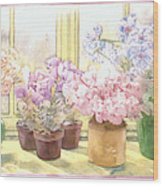 Flowers On The Windowsill Wood Print by Julia Rowntree