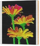Flowers Quick Strokes Wood Print