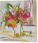 Flowers Red And Yellow Wood Print by Becky Kim