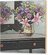 Flowers Table And Mirror In The Foyer Still Life Wood Print
