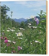 Flowers View Of The Mountains Wood Print