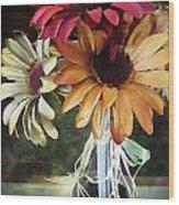 Flowers Water Ripples Wood Print
