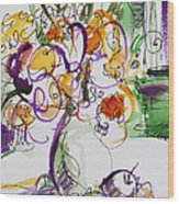 Flowers With Purple Hint Wood Print