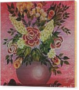 Flowers With Red Background Wood Print