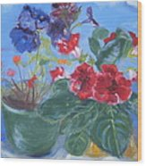 Flowers With The Sky  Wood Print