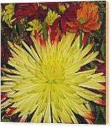 Flowers Yellow Wood Print