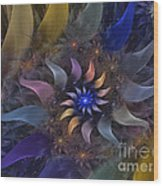 Flowery Fractal Composition With Stardust Wood Print