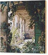 Flowery Majorquin  Patio In Valdemosa Wood Print