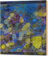 Flowing River Water And Rocks Colorful Abstract Painting Wood Print
